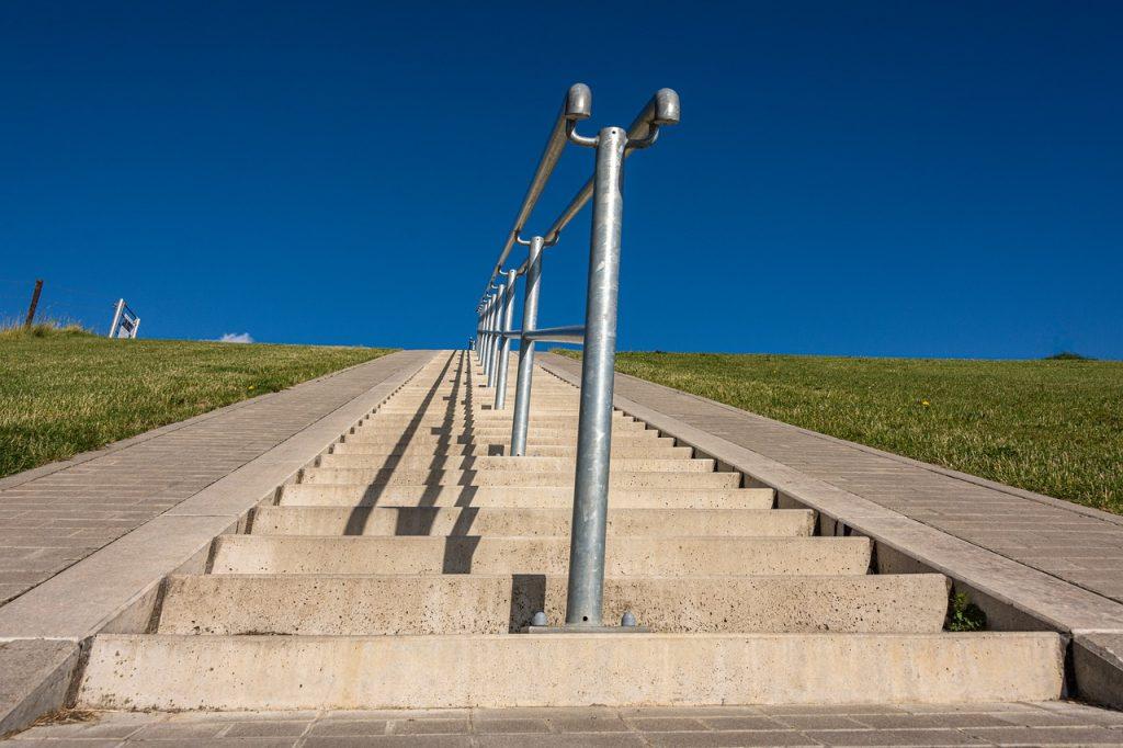 stairs, gradually, rise